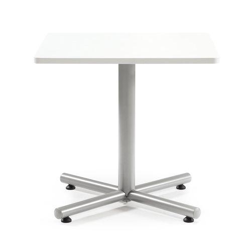 【廃番】会議用テーブル 正方形天板 750mm角 BTS-750K W750×D750×H720(mm) 1本+クロス脚 シルバー塗装脚 アジャスター付きのメイン画像