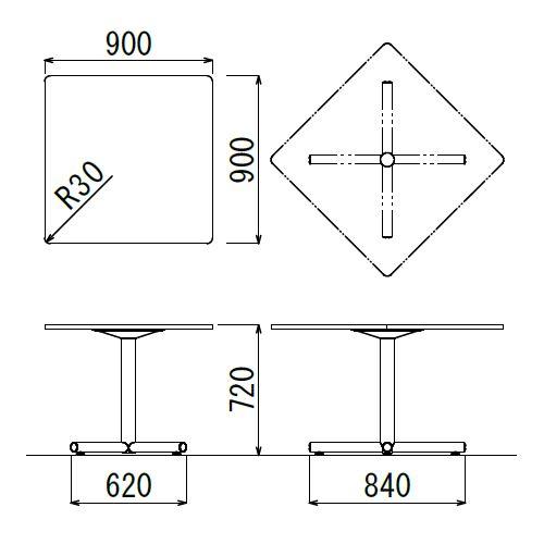 会議用テーブル 正方形天板 900mm角 BTS-900K W900×D900×H720(mm) 1本+クロス脚 シルバー塗装脚 アジャスター付き商品画像2