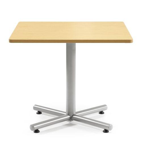 会議用テーブル 正方形天板 900mm角 BTS-900K W900×D900×H720(mm) 1本+クロス脚 シルバー塗装脚 アジャスター付きのメイン画像