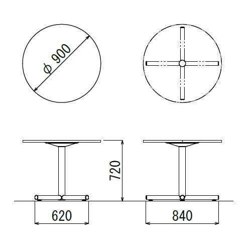 【廃番】会議用テーブル 円形天板 900φ BTS-900R W900×D900×H720(mm) 1本+クロス脚 シルバー塗装脚 アジャスター付き商品画像2