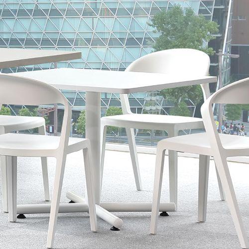 【廃番】会議用テーブル 正方形天板 750mm角 BTW-750K W750×D750×H720(mm) 1本+クロス脚 ホワイト塗装脚 アジャスター付き商品画像4