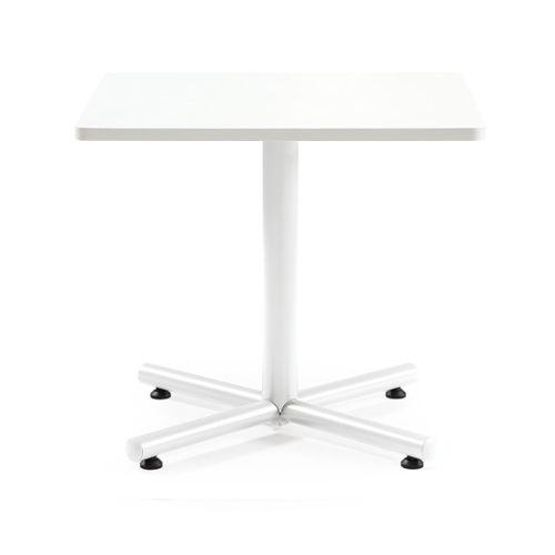【廃番】会議用テーブル 正方形天板 750mm角 BTW-750K W750×D750×H720(mm) 1本+クロス脚 ホワイト塗装脚 アジャスター付きのメイン画像