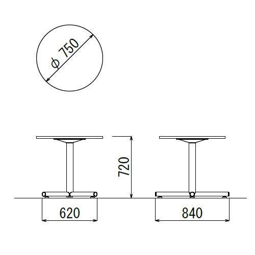 会議用テーブル 円形天板 750φ BTW-750R W750×D750×H720(mm) 1本+クロス脚 ホワイト塗装脚 アジャスター付き商品画像2