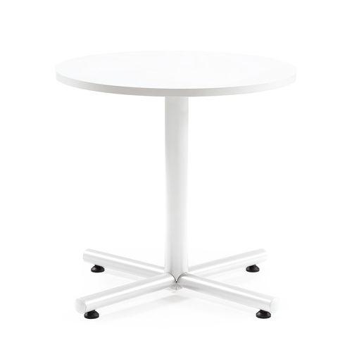 会議用テーブル 円形天板 750φ BTW-750R W750×D750×H720(mm) 1本+クロス脚 ホワイト塗装脚 アジャスター付きのメイン画像
