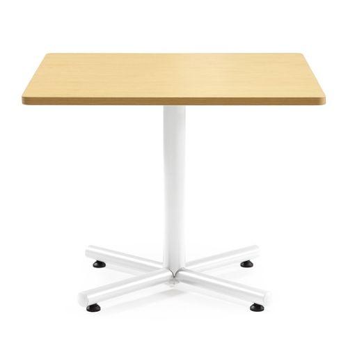 【廃番】会議用テーブル 正方形天板 900mm角 BTW-900K W900×D900×H720(mm) 1本+クロス脚 ホワイト塗装脚 アジャスター付きのメイン画像
