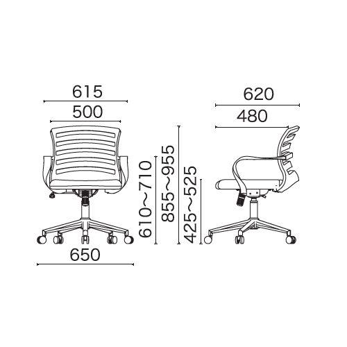 チェア(椅子) 井上金庫(イノウエ) メッシュチェア COZ-28 肘あり商品画像5