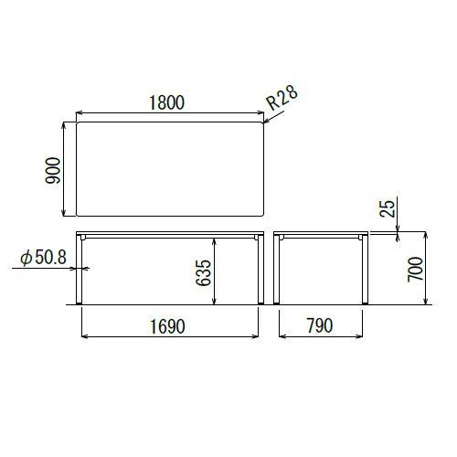 会議用テーブル CTH-1890 W1800×D900×H700(mm) ダークトーン 4本脚テーブル アジャスター付商品画像2