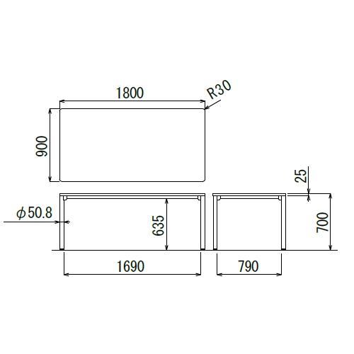 会議用テーブル CTH-1890-M10 W1800×D900×H700(mm) ブラックカラー塗装4本脚テーブル商品画像2