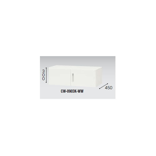 キャビネット・収納庫 両開き書庫 上置き用 H300mm ホワイトカラー CW型 CW-0903K-WW W899×D450×H300(mm)のメイン画像