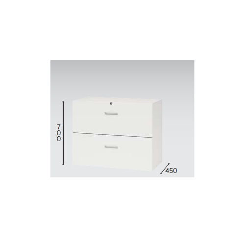 キャビネット・収納庫 ファイル引き出し書庫 2段 ホワイトカラー CW型 CW-0907S-2-WW W899×D450×H700(mm)のメイン画像