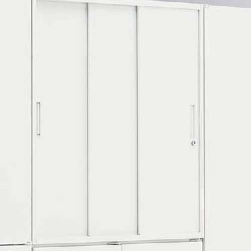 3枚扉 スチール引き違い書庫 ナイキ H900mm ホワイトカラー CW型 CW-0909H3-WW W899×D450×H900(mm)商品画像7