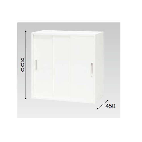 3枚扉 スチール引き違い書庫 ナイキ H900mm ホワイトカラー CW型 CW-0909H3-WW W899×D450×H900(mm)のメイン画像