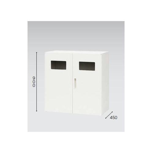 キャビネット・収納庫 両開き書庫 トラッシュボックス(ごみ箱)収納タイプ ホワイトカラー CW型 CW-0909KT-WW W899×D450×H900(mm)のメイン画像