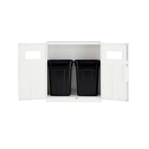 キャビネット・収納庫 両開き書庫 トラッシュボックス(ごみ箱)収納タイプ ホワイトカラー CW型 CW-0911KT-WW W899×D450×H1050(mm)商品画像2