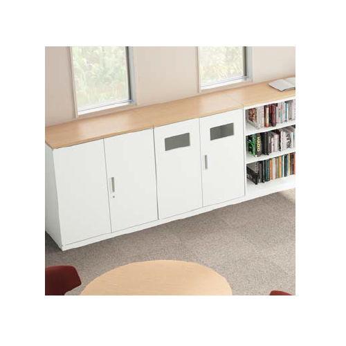 両開き書庫 トラッシュボックス(ごみ箱)収納タイプ ナイキ ホワイトカラー CW型 CW-0911KT-WW W899×D450×H1050(mm)商品画像3