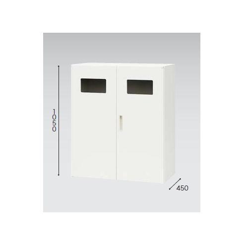 キャビネット・収納庫 両開き書庫 トラッシュボックス(ごみ箱)収納タイプ ホワイトカラー CW型 CW-0911KT-WW W899×D450×H1050(mm)のメイン画像