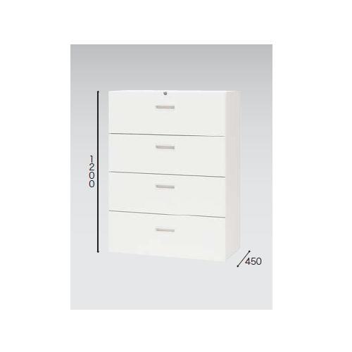 キャビネット・収納庫 ファイル引き出し書庫 4段 ホワイトカラー CW型 CW-0912S-4-WW W899×D450×H1200(mm)のメイン画像
