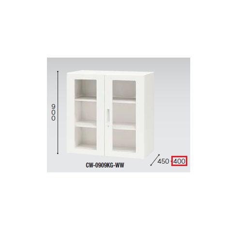 キャビネット・収納庫 ガラス両開き書庫 H900mm ホワイトカラー CWS型 CWS-0909KG-WW W899×D400×H900(mm)のメイン画像
