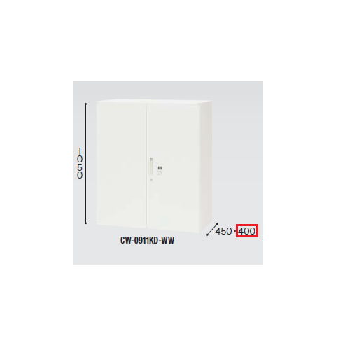 キャビネット・収納庫 両開き書庫 ダイヤル錠 H1050mm ホワイトカラー CWS型 CWS-0911KD-WW W899×D400×H1050(mm)のメイン画像