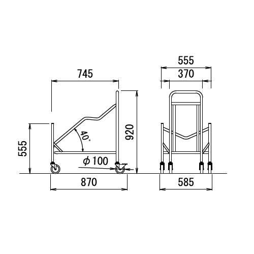 スタッキングチェア専用台車 アイコ D-14 (MC-101・MC-111他)商品画像2