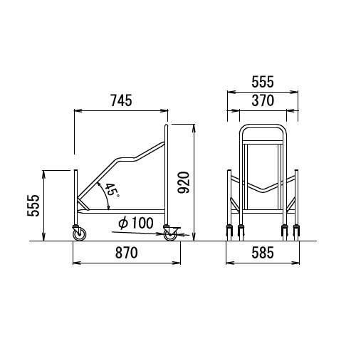 スタッキングチェア専用台車 アイコ D-16 (MC-231・MC-221・MC-201・MC-212他)商品画像2
