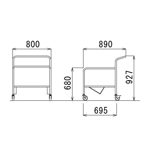 スタックテーブル専用台車 D-50 (UNT-6545)商品画像3