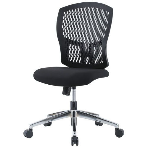チェア(椅子) 井上金庫(イノウエ) 樹脂メッシュチェア スチールメッキ脚タイプ D4C-07M 肘なしのメイン画像
