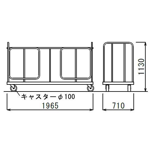 折りたたみテーブル用台車 アイコ DFT W1965×D710×H1130(mm)商品画像1