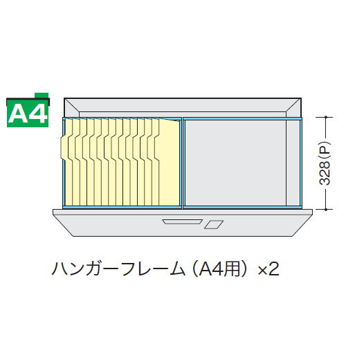 キャビネット・収納庫 CW型ダイヤル錠3段ファイル引き出し書庫用A4ハンガーフレーム DHF-A4T-2 2本セット商品画像2