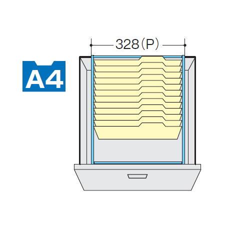 キャビネット・収納庫 CW型ダブル3段(2列3段)ファイル引き出し書庫用A4ハンガーフレーム DHF-A4Tのメイン画像