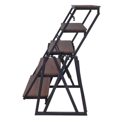 シェルフ ムービングシェルフ 3タイプ変形 DIS-500BK W1810×D600~1500×H1330~720(mm)商品画像6