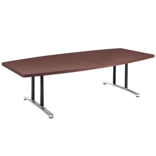 テーブル(会議用) 2本固定脚 DWL-2412B W2400×D1200×H700(mm) ボート形(舟形)天板 アルミダイキャストベース商品画像1