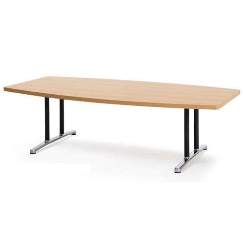 テーブル(会議用) アイコ 2本固定脚 DWL-2412B W2400×D1200×H700(mm) ボート形(舟形)天板 アルミダイキャストベースのメイン画像