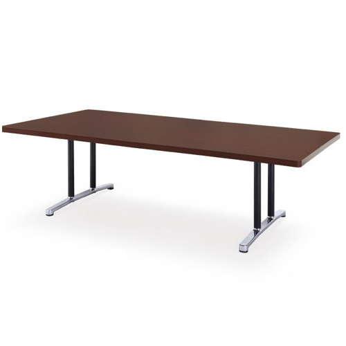 テーブル(会議用) アイコ 2本固定脚 DWL-2412K W2400×D1200×H700(mm) 角形天板 アルミダイキャストベースのメイン画像