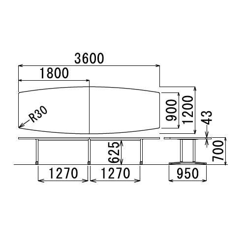 テーブル(会議用) アイコ 2本固定脚 DWL-3612B W3600×D1200×H700(mm) ボート形(舟形)天板 アルミダイキャストベース商品画像3