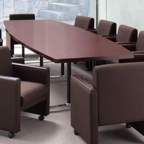 テーブル(会議用) アイコ 2本固定脚 DWL-3612B W3600×D1200×H700(mm) ボート形(舟形)天板 アルミダイキャストベース商品画像5