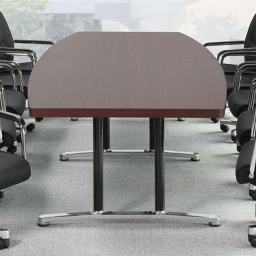 テーブル(会議用) アイコ 2本固定脚 DWL-3612B W3600×D1200×H700(mm) ボート形(舟形)天板 アルミダイキャストベース商品画像6