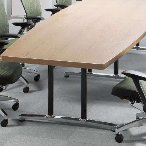 テーブル(会議用) アイコ 2本固定脚 DWL-3612B W3600×D1200×H700(mm) ボート形(舟形)天板 アルミダイキャストベース商品画像7