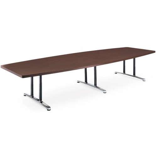 テーブル(会議用) アイコ 2本固定脚 DWL-3612B W3600×D1200×H700(mm) ボート形(舟形)天板 アルミダイキャストベースのメイン画像