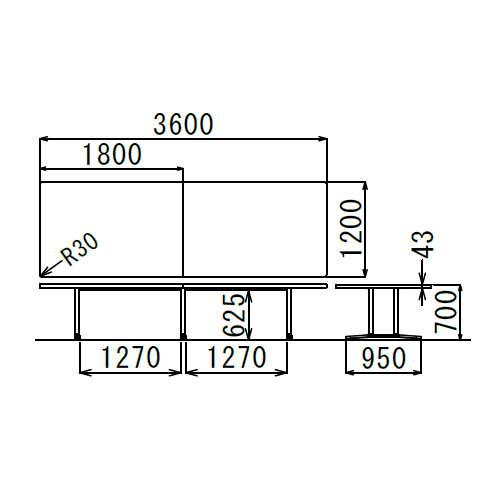 会議用テーブル アイコ 2本固定脚 DWL-3612K W3600×D1200×H700(mm) 角形天板 アルミダイキャストベース商品画像3