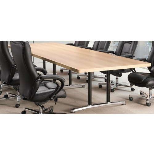 会議用テーブル アイコ 2本固定脚 DWL-3612K W3600×D1200×H700(mm) 角形天板 アルミダイキャストベースのメイン画像