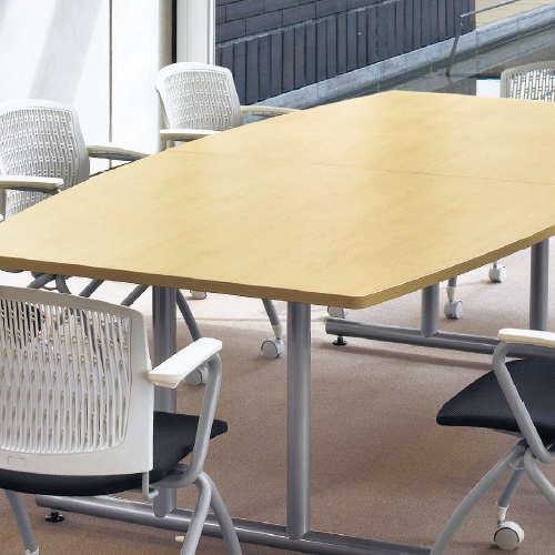 会議用テーブル アイコ 2本固定脚 DWS-2412B W2400×D1200×H700(mm) ボート形(舟形)天板 粉体塗装商品画像4