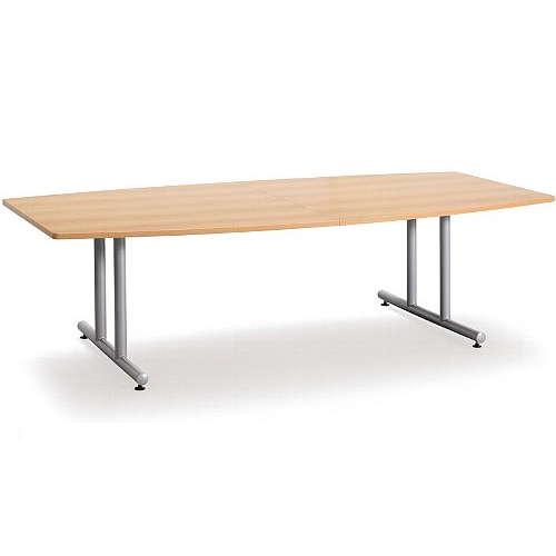テーブル(会議用) アイコ 2本固定脚 DWS-2412B W2400×D1200×H700(mm) ボート形(舟形)天板 粉体塗装のメイン画像