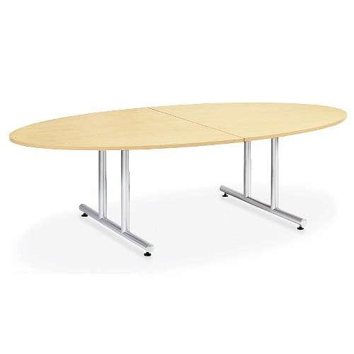 テーブル(会議用) アイコ 2本固定脚 DWS-2412E W2400×D1200×H700(mm) タマゴ形(卵形)天板 粉体塗装のメイン画像