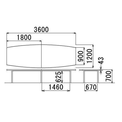 テーブル(会議用) アイコ 4本固定脚 DXM-3612B W3600×D1200×H700(mm) ボート形(舟形)天板 クロームメッキ商品画像3