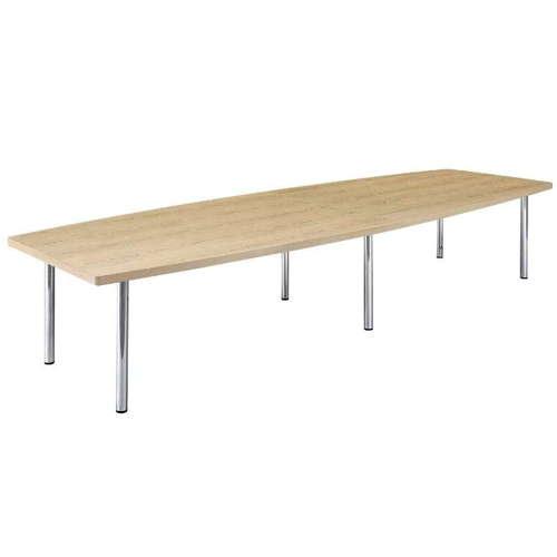 テーブル(会議用) アイコ 4本固定脚 DXM-3612B W3600×D1200×H700(mm) ボート形(舟形)天板 クロームメッキのメイン画像