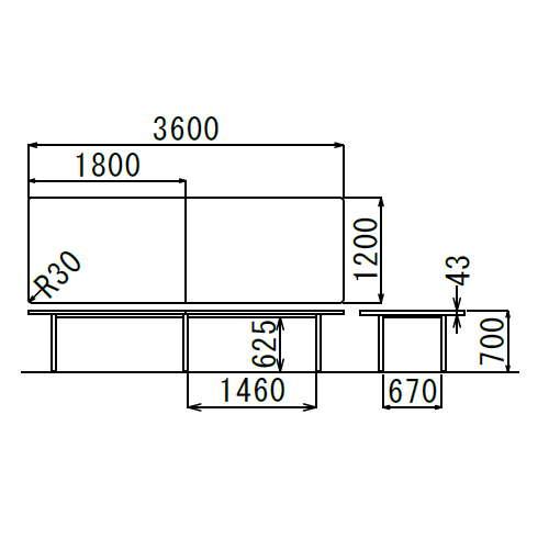 テーブル(会議用) 4本固定脚 DXM-3612K W3600×D1200×H700(mm) 角形天板 クロームメッキ商品画像3
