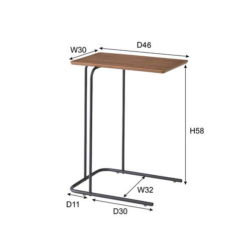 サイドテーブル アーロン END-222 スチール脚 アジャスター付き ブラックフレーム商品画像4
