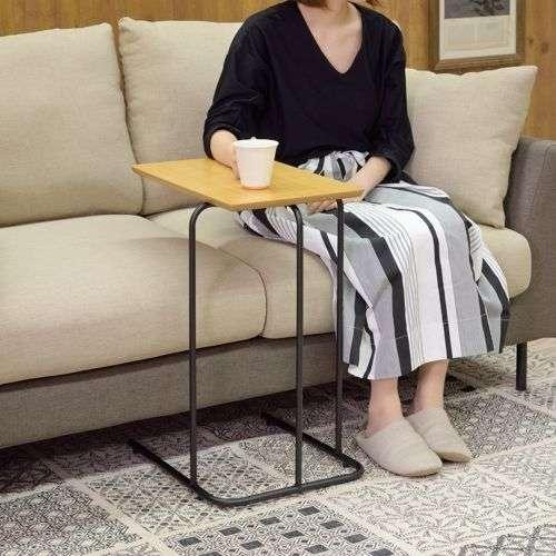 サイドテーブル アーロン END-222 スチール脚 アジャスター付き ブラックフレーム商品画像7
