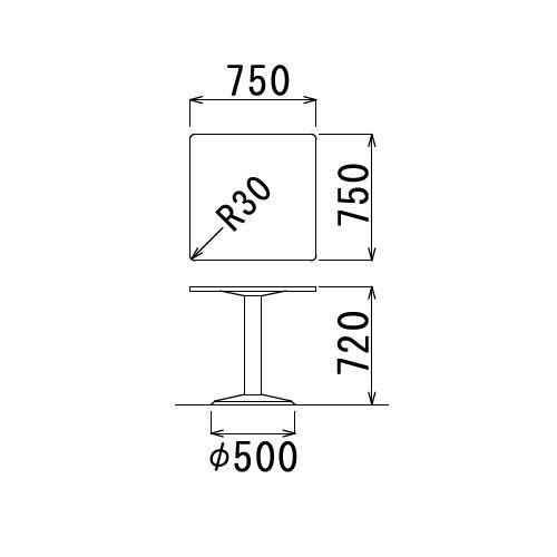 【廃番】会議用テーブル 正方形天板 750mm角 ETS-750K W750×D750×H720(mm) 1本脚テーブル シルバー塗装脚商品画像2